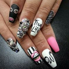 Thug life nails Lips nail art Nail art Nail designs Nail themes