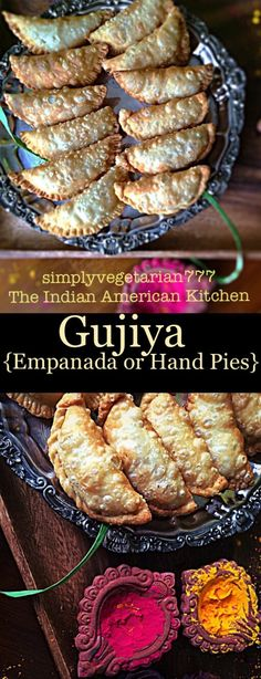 Gujiya is also known as Karanji and is a popular Festival Dessert from India. It is made for Holi and Diwali. It is like empanada or hand pies. The filling has milk solids and nuts. One Bite Appetizers, Appetizers For Party, Appetizer Recipes, Dessert Recipes, Party Recipes, Vegetarian Platter, Vegetarian Snacks, Indian Desserts, Indian Food Recipes
