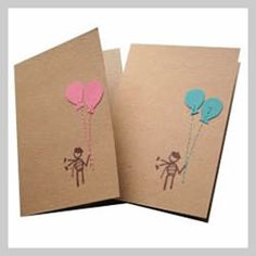 Birthday Balloons Handmade Recycled Card