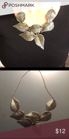 Silver leaf statement necklace Originally purchased from Modcloth. Gorgeous statement necklace to dress up a sweater or dress! ModCloth Jewelry Necklaces