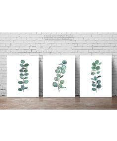 Set 3 Plants Watercolour Painting, Scandi Style Botanical Illustration, Mint Green Art Print, Minimalist Dining Room Scandinavian Decor