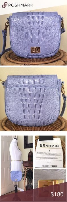 """BRAHMIN MINI SONNY CROSSBODY NEW WITHOUT TAGS. Brahmin Mini Sonny Crossbody bag in Periwinkle. Made of textured leather. Flap with turn-lock closure. Detachable, adjustable crossbody strap. Exterior back slip pocket. Interior back-wall zip pocket with key hook. Interior slip pocket. APPROXIMATE MEASUREMENTS: 7.5"""" W X 7.5"""" H X 3.0"""" D Strap Drop: 23.0"""" (there are a few superficial scratches to the turn-lock pic #3) Comes with dust bag, registration card & care card. Brahmin Bags Crossbody Bags"""