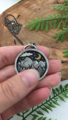 Moonlit Mountain Pendant by Kelly Limberg - Limited Edition Release. Handcrafted in Sterling Silver & Gold. Moon Jewelry, Metal Jewelry, Sterling Silver Jewelry, Bullet Jewelry, Gothic Jewelry, Silver Earrings, Jewelry Necklaces, Jewelry Crafts, Jewelry Art