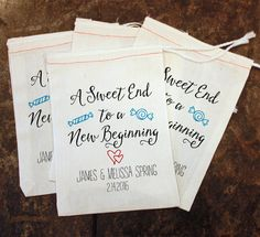 Candy Wedding Favor Bags - A Sweet End to a New Beginning / Customized Candy Bags / Rustic Wedding / Sweet Treat Wedding Gift / Goody Bag by ScrapendipityBags on Etsy