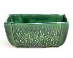 McCoy Emerald Green Planter - Long Rectangle Window Box Style, Asian Bamboo or Bonsai Garden Accent, Glazed Ceramic - Vintage Home Decor