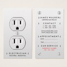 Electrician modern simple white electrical outlet business card