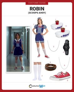 Things clothes Dress Like Robin Buckley (Scoops Ahoy) Help save Hawkins while taking a break from work at Scoop Ahoy dressed as Robin from Stranger Things season Stranger Things Halloween Costume, Dog Halloween Costumes, Cool Costumes, Costumes For Women, Stranger Things Costumes, Costume Ideas, Cosplay Ideas, Halloween Ideas, Stranger Things Characters