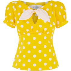 The Peekaboo Top Yellow Spot (5,230 INR) ❤ liked on Polyvore featuring tops, puffed sleeve top, keyhole top, puff shoulder top, puff sleeve top and polka dot top