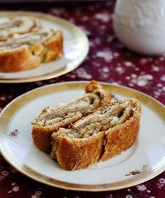 Orechovnik (slovak nut roll)-- tender bread filled with chopped nuts and brown sugar. Slovak Recipes, Czech Recipes, Hungarian Recipes, Slovak Nut Roll Recipe, Ethnic Recipes, Croissants, Polish Recipes, Polish Food, Strudel