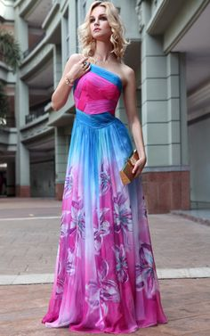 Chiffon Floral Print Colorful Princess Long Strapless Bandeau Pleated Evening Dress - Great for beach bridesmaids