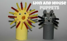 TP roll Lion and mouse Puppets to retell the story