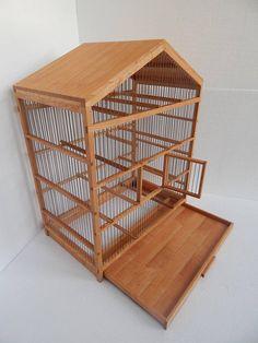 Cage à oiseaux en bois fait à la main