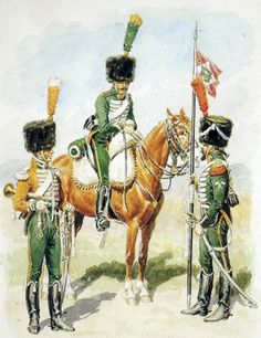 Kingdom of Italy-mounted shooters. From the left: trumpeter of the electoral szaser election company, Minesweeper the regimental colors. Fig. L. Rouseelot.