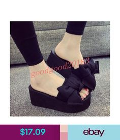 9f454905d68684 Sandals Womens Summer Beach Sandals Wedge Heels Bowknot Fashion Slippers  Casual Shoes Us  ebay