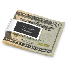 No matter what size his stack of cash is, it will look like a million bucks in this contemporary money clip. The black matte inlay and silver trim give it a masculine touch. Add his initials and a special message on the front to create a gift he'll never leave home without. https://www.thingsremembered.com/black-matte-money-clip/product/619022#?fcref=OrgPinterest
