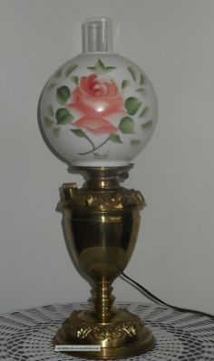 23 aladdin brass lamp oil kerosene w hand painted roses glass shade converted oil lamp with glass globes converted aladdin brass kerosene oil lamp w aloadofball Gallery