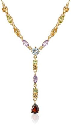 Yellow Gold Plated Sterling Silver Multi-Gemstone Y-Necklace, 17″ #deals