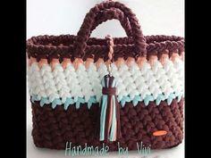 Клатч с бахромой из трикотажной пряжи. Вязание крючком. Clutch bag with fringe - YouTube