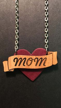 Mom's Heart Tattoo Necklace – Twig Case Co. - Made from Richlite (a solid