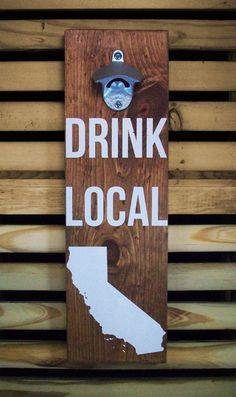 Wood Wall Mount Beer Bottle Opener Screen by CoffeeDiemDryGoods, $35.00