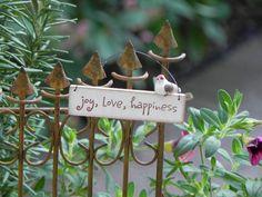 Fairy Garden miniature sign - joy love happiness