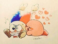 Kirby: *hugs*Marx: *freaks out*Kirby: *stops*Marx: *hyperventilates* Meta Knight, Stay Calm, Kawaii, Fan Art, My Favorite Things, My Love, Hugs, Funny, Anime