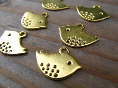 Gold Bird Charms Gold Mod Bird Spotted Sparrows by AliCsSupplyShop, $7.25