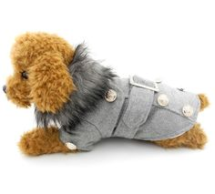 794aab5b4c09 Pet Cat Dog Clothes European Woolen Fur Collar Coat Small Dog Cat Pet  Clothes Costume Light