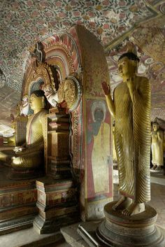 Dambulla Cave Temple, Sri Lanka. A sacred pilgrimage site for 22 centuries, this cave monastery, with its five sanctuaries, is the largest, best-preserved cave-temple complex in Sri Lanka. The Buddhist mural paintings are of particular importance, as are the 157 statues.