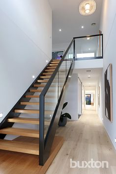 Parkmore Road, Bentleigh East VIC Image 6 design modern stairways Sold Parkmore Road, Bentleigh East VIC 3165 on 07 May 2016 - 2012731866 Interior Stair Railing, Stair Railing Design, Staircase Railings, Glass Stair Railing, Staircases, Home Stairs Design, Modern House Design, Home Interior Design, Staircase Lighting Ideas