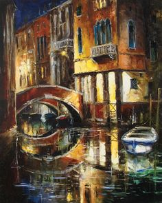 Midnight in Venice by Gleb Goloubetski, Oil on Canvas, 100cmx80cm THIS PAINTING IS SOLD