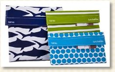 Lunch Skins are bags that are made from reusable fabric and has velcro to keep your food secured.  These bags comes in variety of colors and designs.  They are dishwasher safe and made from certified food-safe fabric. Lead-free, BPA-free and Phthalate-free.    A practical, budget-friendly and hip alternative to plastic.  Made in the USA.  http://ecointuitive.com