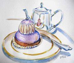 Paris Breakfast ~ Carol Gillott Ladurees Religieuse Cassis Violette