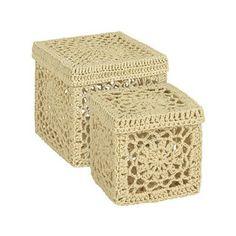 pulcsiból - nagy cipósdoboz, karton óriási láda - Cajitas de crochet en Zara Home