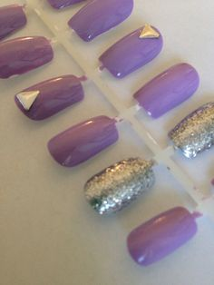 Purple Glitter Nails with Small Triangle Fake False by Gliztery