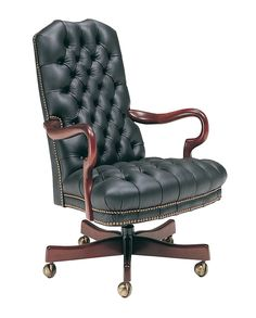 Classic Leather Goose Neck Tufted Goose Swivel Tilt Chair
