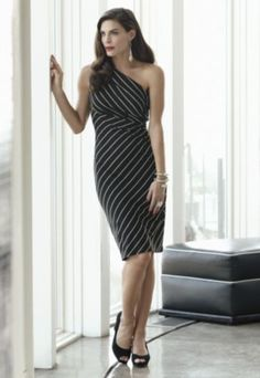 One Shoulder Striped Dress from Monroe and Main plus sizes 16W - 24W