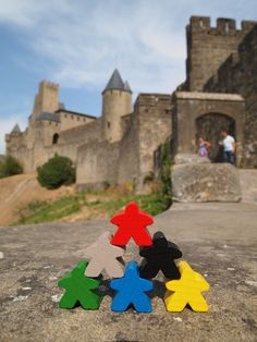 Carcassone meeples at Carcassonne, France. awesome. my favorite game with my nephew!