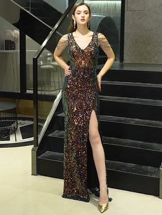 Sequin Prom Dress, Long Prom Dress, Prom Dress with slit Evening Dresses Online, Black Evening Dresses, Mermaid Evening Dresses, Evening Gowns, Dress Online, Junior Formal Dresses, Cheap Prom Dresses, Cute Dresses, Dress Prom