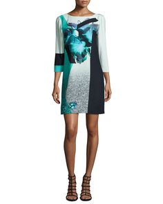 3/4-Sleeve Floral-Print Shift Dress, Turquoise - Prabal Gurung