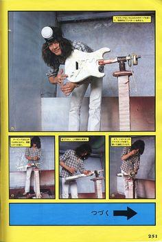 Eddie Van Halen guitar building technique in a Japanese Magazine page 2 Eddie Van Halen, Alex Van Halen, Great Bands, Cool Bands, Van Halen 5150, Van Hagar, Comics In English, Signature Guitar, Guitar Building