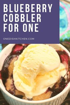 Easy single serving blueberry cobbler recipe made with a handful of fresh or frozen blueberries and a few simple pantry ingredients.