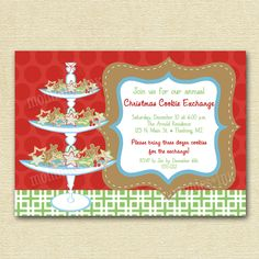 Christmas Cookie Exchange or Swap Party Invitation - PRINTABLE INVITATION DESIGN. $12.00, via Etsy.