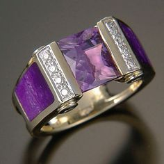 Randy POLK - Purple classic - Channel-Set 2.5-3ct Amethyst with Sugilite inlay, 4 tubes set and 8 pavé Diamonds. Ref WRING05