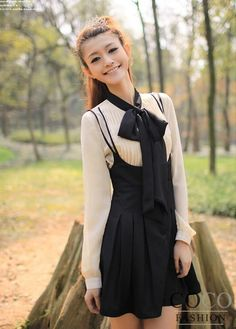 Beige Long Sleeves Shirt with Big Bow and Cute Pleated Mini Skirt