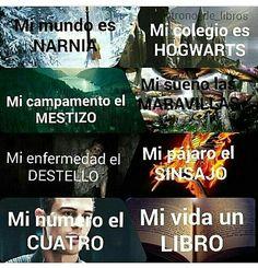 Libros: -Narnia -Harry Potter -Percy Jackson -Alicia en el país de las maravillas -El corredor de laberintos -Los juegos del hambre -Divergente (Así están respectivamente)