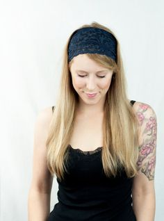 Wide Lace Headband Navy Blue Women Stretch Hair Style Fashion Accessory by ForgottenCotton, $14.00