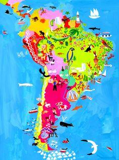 South America map illustration by Christopher Corr Columbia South America, South America Map, Gouache Illustrations, Latin America Map, South America Animals, America Memes, Art Deco, Map Art, Art Prints