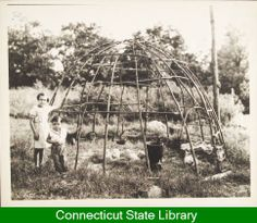 1936 - Frame Indian round house - 2 children - Mills, Lewis Sprague, 1874-1965 - Collection - Dwellings; Mohegan Indians  www.connecticuthistoryonline.org