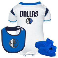 adidas Dallas Mavericks Newborn Creeper, Bib & Booties Set - White/Royal Blue